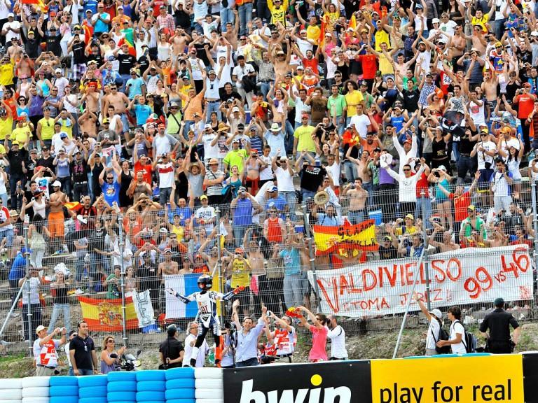 Jorge Lorenzo celebrates with fans GP win in Jerez
