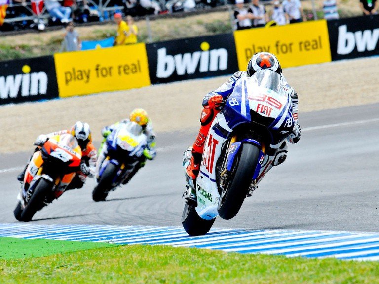 Lorenzo riding ahead of Pedrosa and Rossi in Jerez