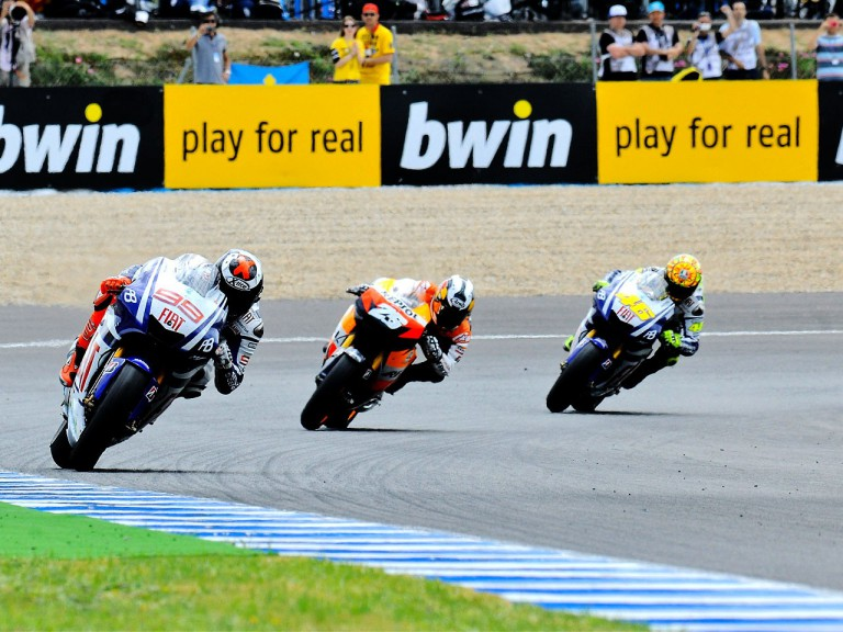 Lorenzo, Pedrosa and Rossi in action in Jerez