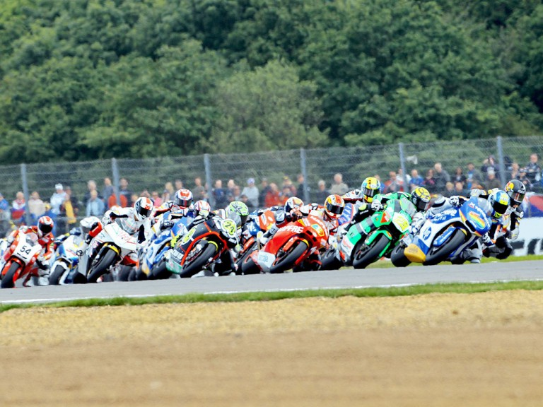 Moto2 group in action at Silverstone