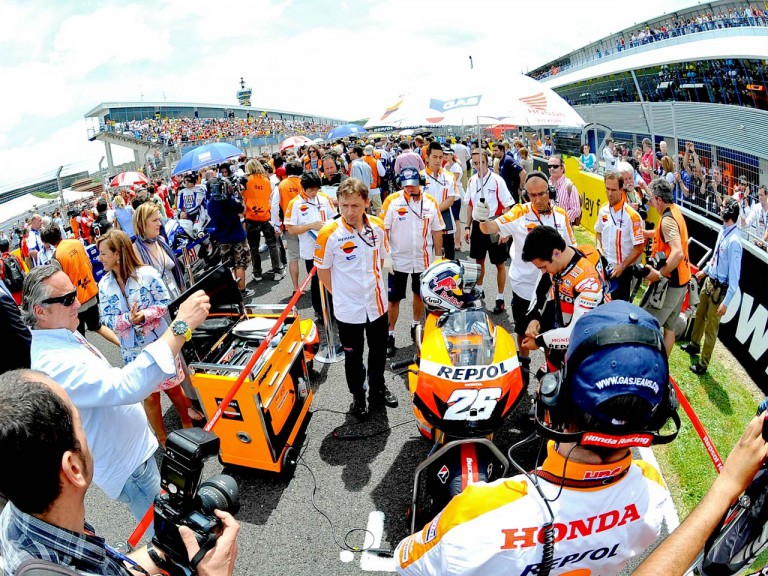 Dani Pedrosa at the Starting grid in Jerez