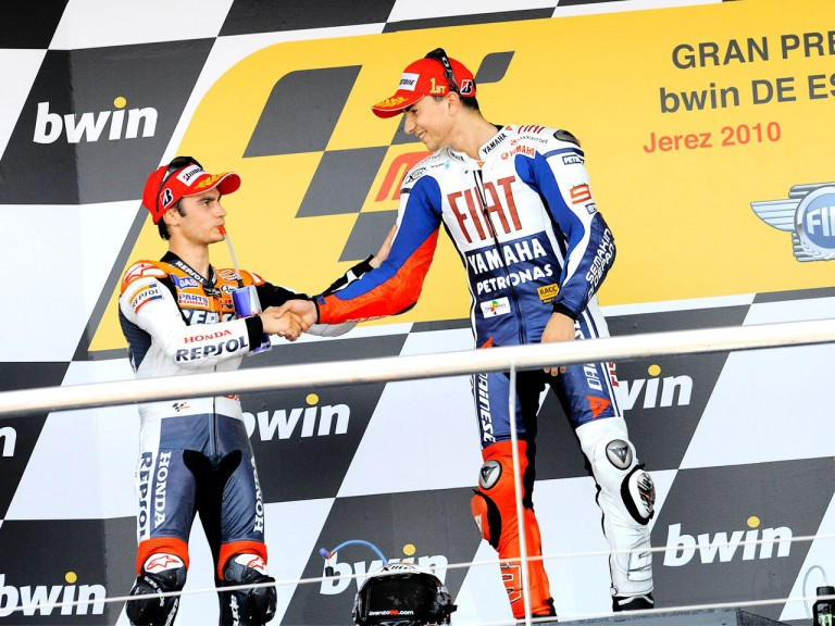 Pedrosa and Lorenzo on the podium in Jerez
