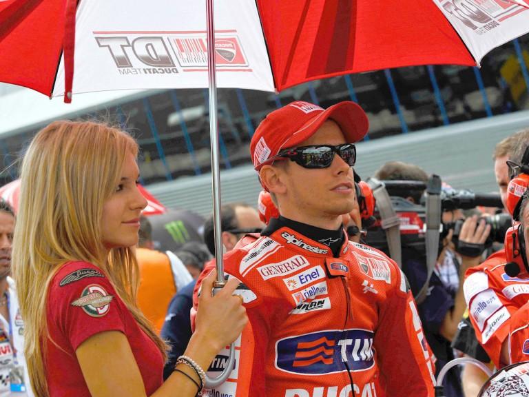 Casey Stoner at the starting grid in Jerez