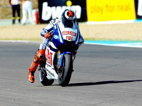 Jorge Lorenzo at the finish of the QP in Jerez