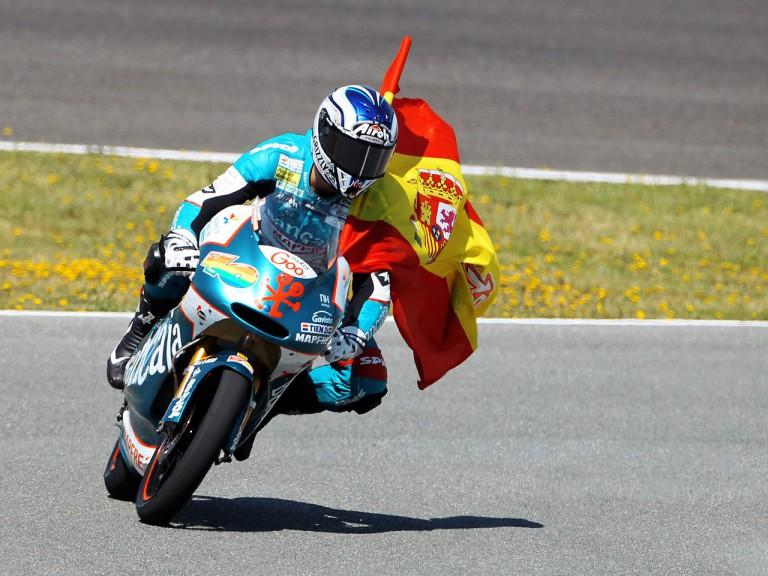 Nico Terol celebrates GP win in Jerez