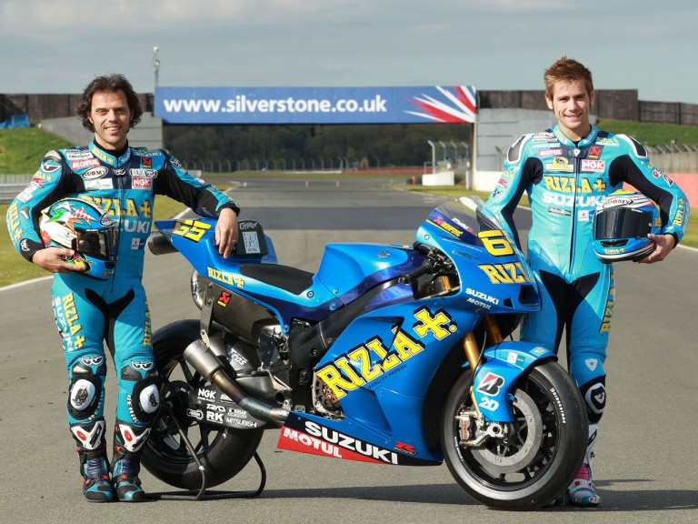 Capirossi and Bautista at the Silverstone circuit