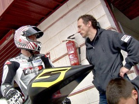 Jeremy McWilliams in the pit lane at CEV Buckler in Albacete