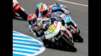 Simone Corsi riding ahead of Moto2 Group in Jerez