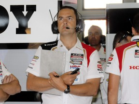 De Puniet Team Chief Christophe Bourguignon in the LCR Honda MotoGP garage