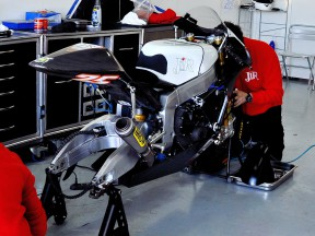 Moto2 bike at the garage