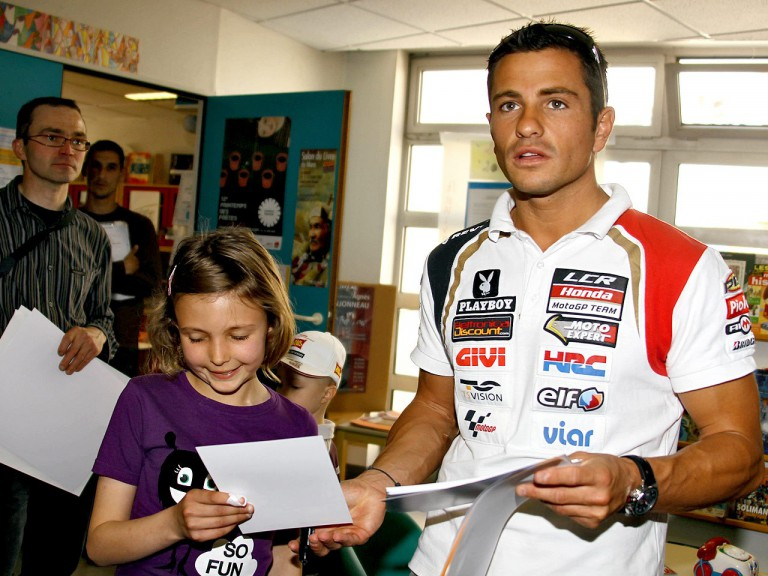 Randy de Puniet during the visit at the children´s hospital Centre Hospitalier du Mans