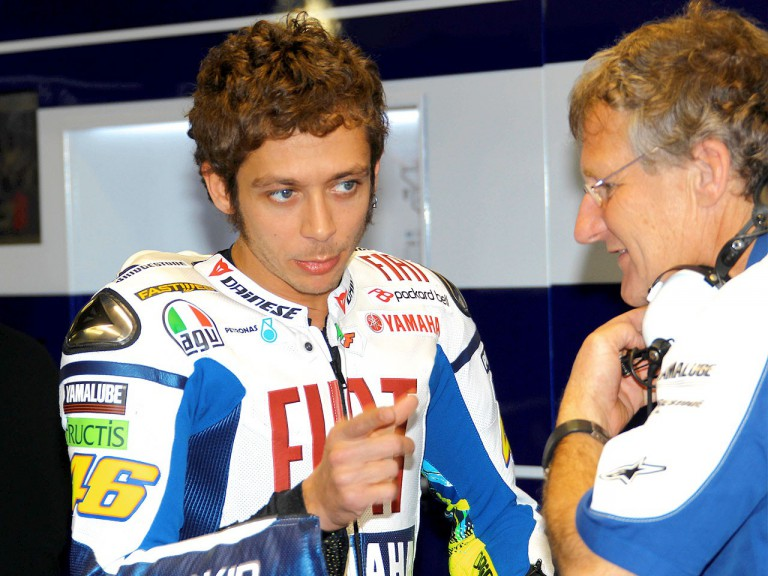 Valentino Rossi and Jeremy Burgess in the Fiat Yamaha garage