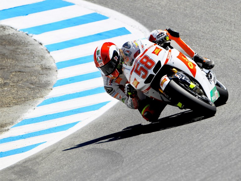Marco Simoncelli in action in Laguna Seca