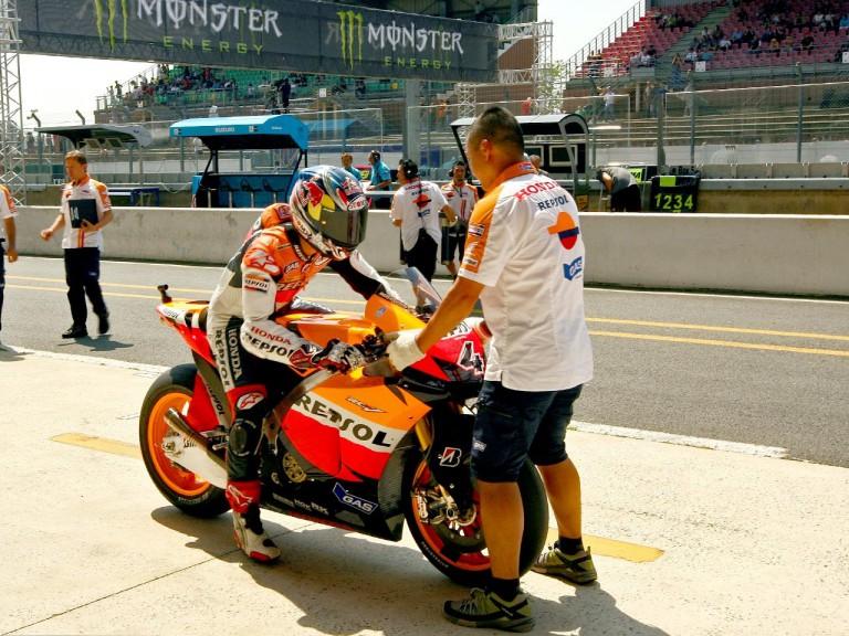 Andrea Dovizioso in the pit lane