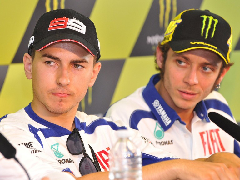 Lorenzo and Pedrosa at the press conference after the QP in Le Mans