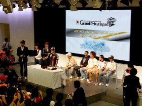 Honda riders at an event at HRC headquarters in Tokyo