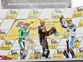 Iannone, Elias and Rolfo celebrating GP win in Sachsenring