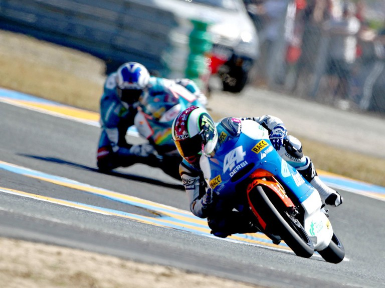 Espargaró riding ahead of Terol in Le Mans