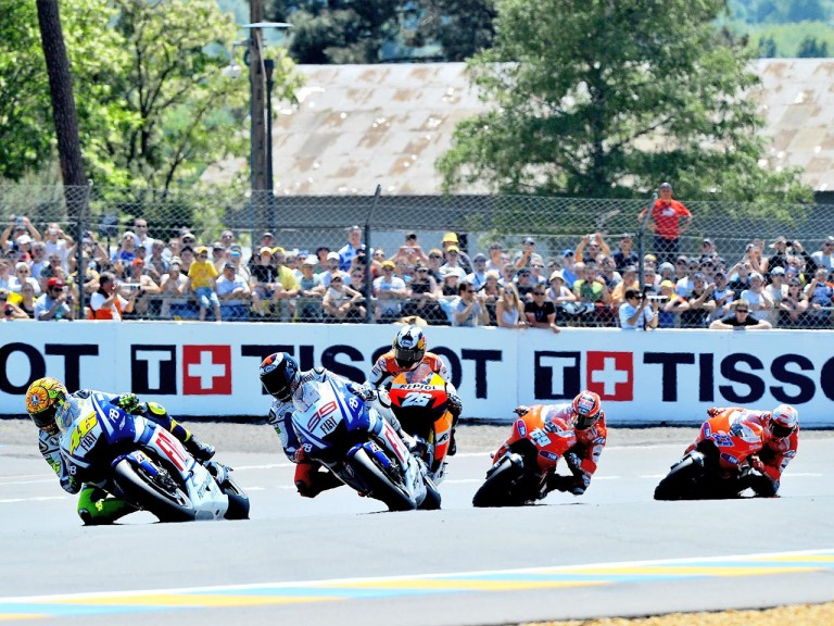 MotoGP gorup in action in Le Mans