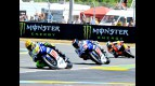 Rossi, Lorenzo and Pedrosa action shot in Le Mans