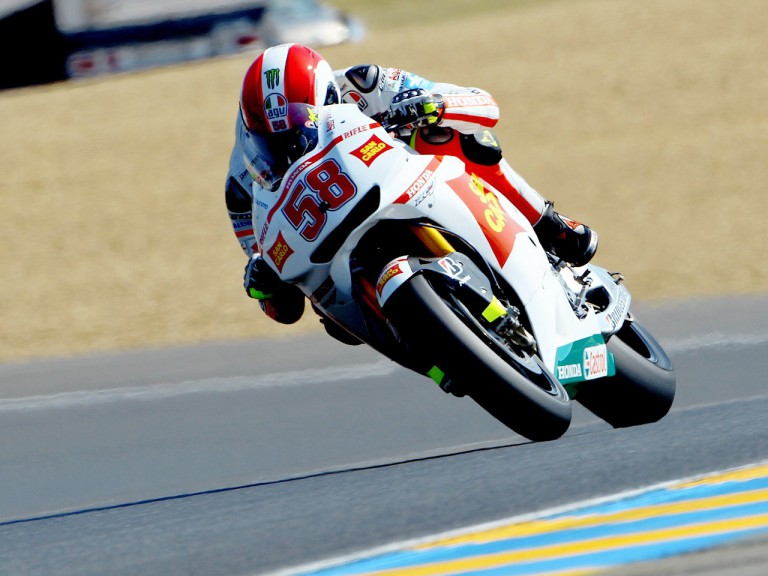 Marco Simoncelli in action in Le Mans