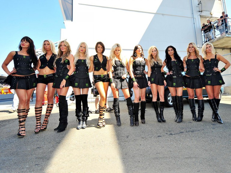Monster Energy girls at the paddock in Le Mans
