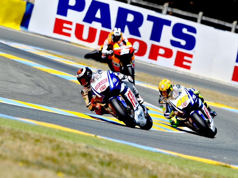 Lorenzo, Rossi and Pedrosa in action in  Le Mans