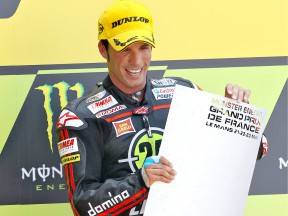 Toni Elias on the podium in Le Mans