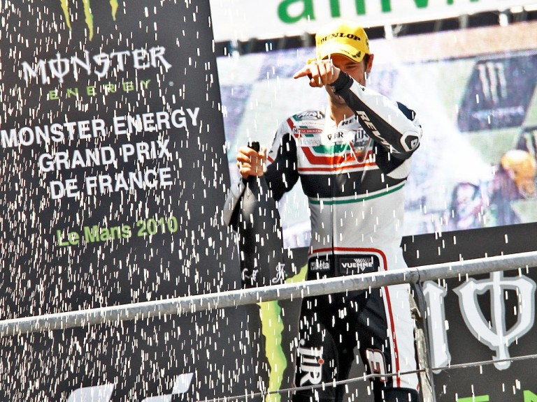 Simone Corsi on the podium in Le Mans