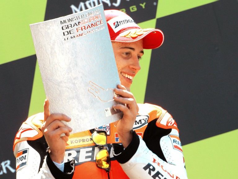 Andrea Dovizioso on the podium in Le Mans