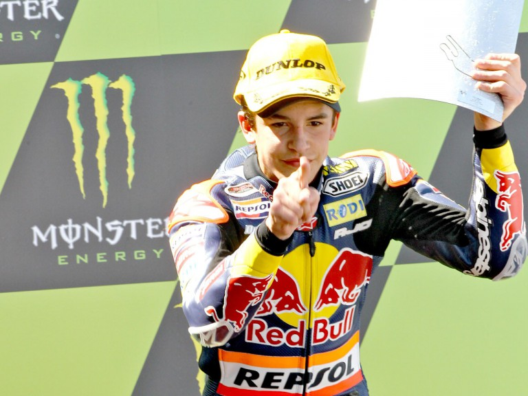 Marc Marquez on the podium in Le Mans