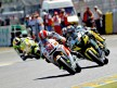 Marco Simoncelli riding ahead of MotoGP group in Le Mans