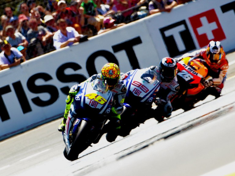 MotoGP riders contest positions