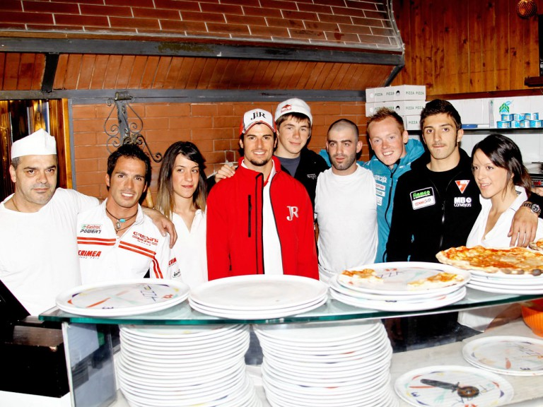 MotoGP riders learn to make a pizza at the preevent in Mugello