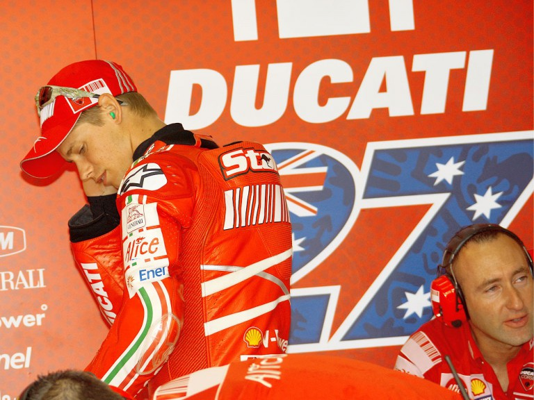 Casey Stoner in the Ducati Marlboro garage