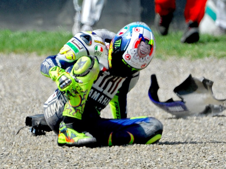 Rossi crashes during FP2 in Mugello