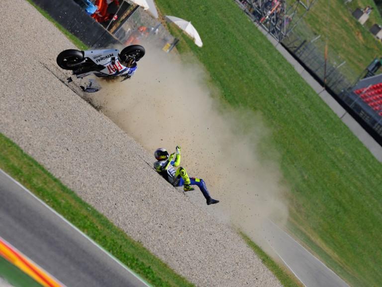 Rossi crashes during FP2 in Mugello