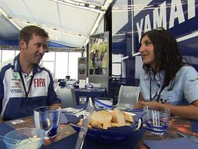 Fiat Yamaha's Alex Briggs with motogp.com's Azi Farni