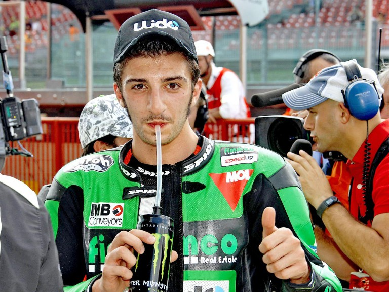 Andrea Iannone at the parc fermé after QP in Mugello