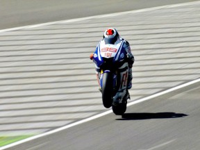 Lorenzo in action during FP2 at Mugello
