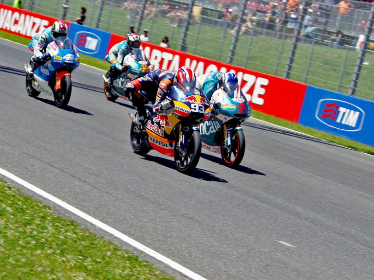 Marquez, Terol, Espargaró and Smith in action during the race in Mugello