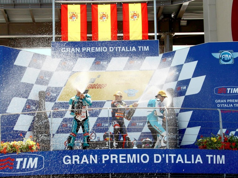 Terol, Marquez and Espargaró celebrating GP win in Mugello