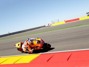 Andrea Dovizioso in action at Motorland Aragón