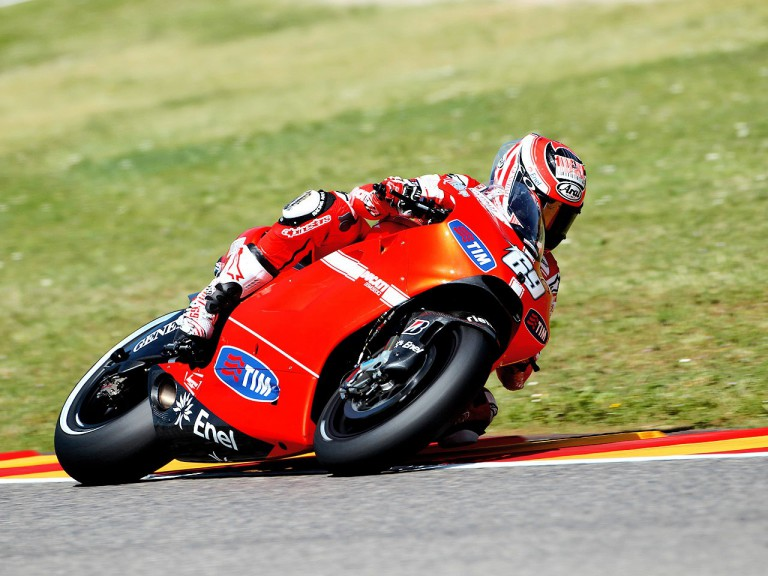 Nicky Hayden in action in Mugello