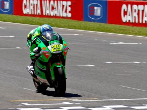 Andrea Iannone in action in Mugello