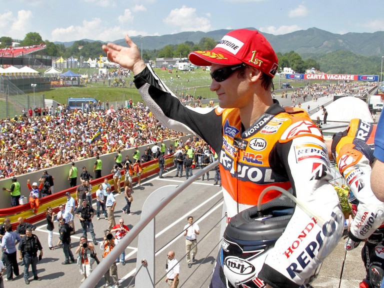 Dani Pedrosa on the podium in Mugello