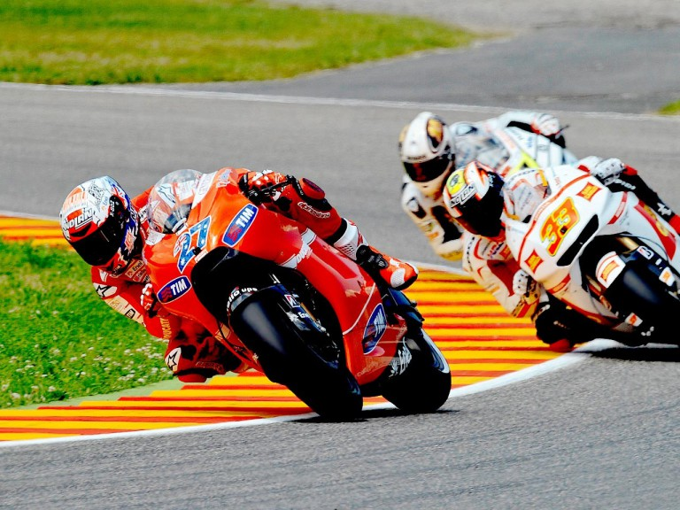 Stoner riding ahead of Melandri and De Puniet in Mugello