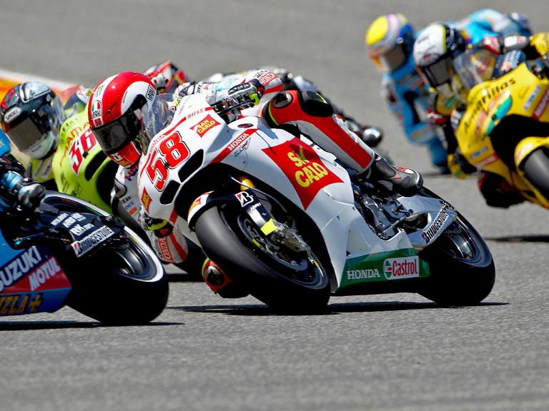 Marco Simoncelli in action in Mugello
