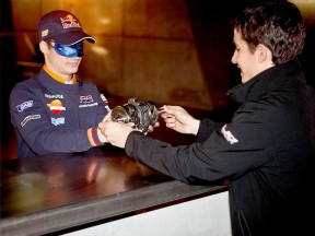Dani Pedrosa and Marc Márquez testing their mechanical knowledge