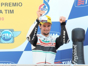 Simone Corsi on the podium in Mugello